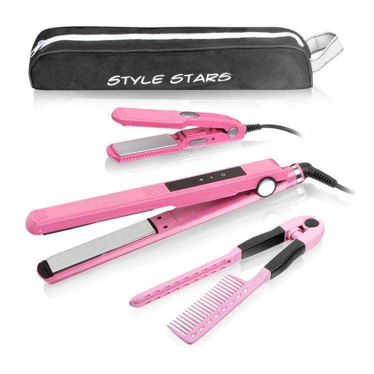 Plancha-titanium-digital-rosada---plancha-viajera---peine---estuche-Style-Stars