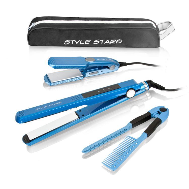 Plancha-titanium-digital-azul---plancha-viajera---peine---estuche-Style-Stars