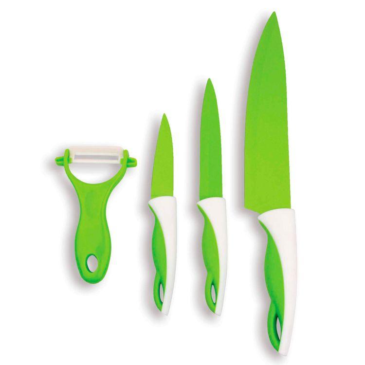 Juego-de-Cuchillos-4-piezas-Ceramica-CeramicSkin-Chefmaster-Verde