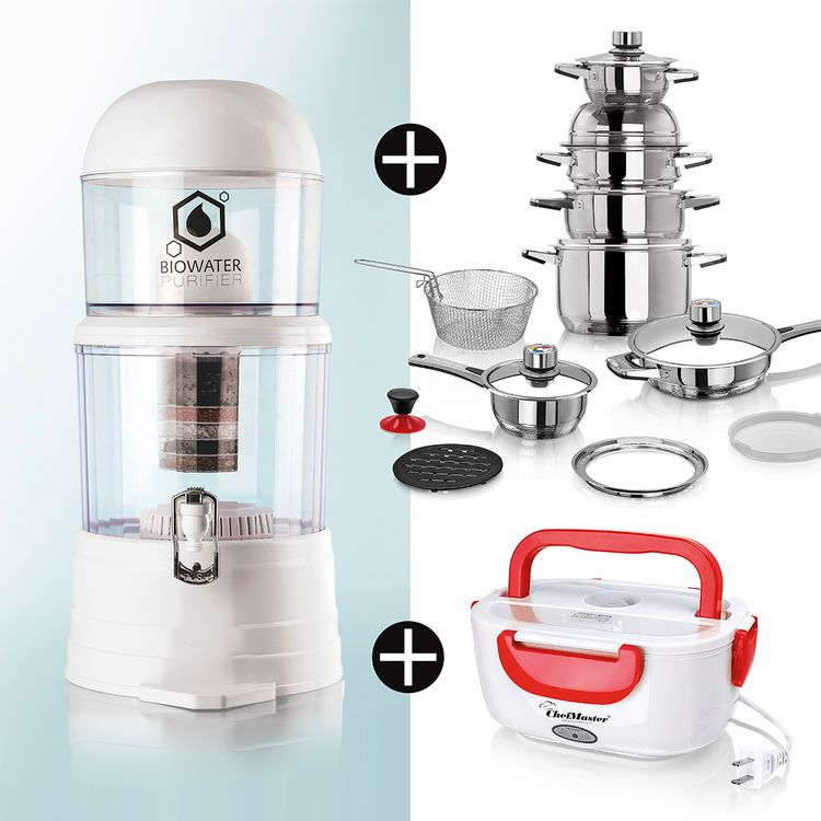 Kit-Ollas-19-Piezas-Purificador-H2O-Lonchera-Roja-Chef-Master