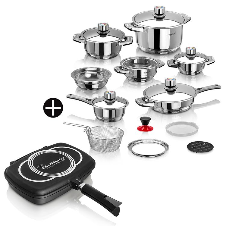 Kit-Chef-Master--Ollas-19-piezas-multinivel---Sarten-dual-32-cm