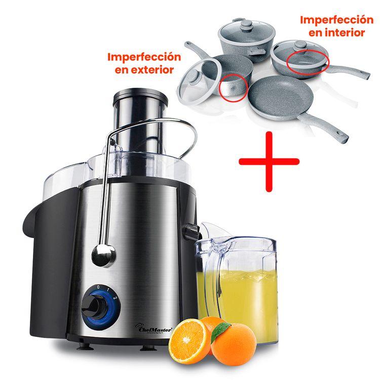 Combo-Extractor-jugos---Ollas-7-piezas-marmol-Chef-Master-1